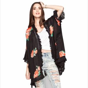 Wildflower Element Kimono Fringe Floral coverup